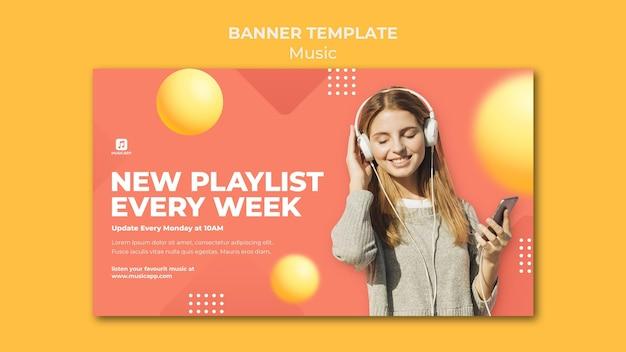 Modèle De Bannière Pour Diffuser De La Musique En Ligne Avec Une Femme Portant Des écouteurs Psd gratuit