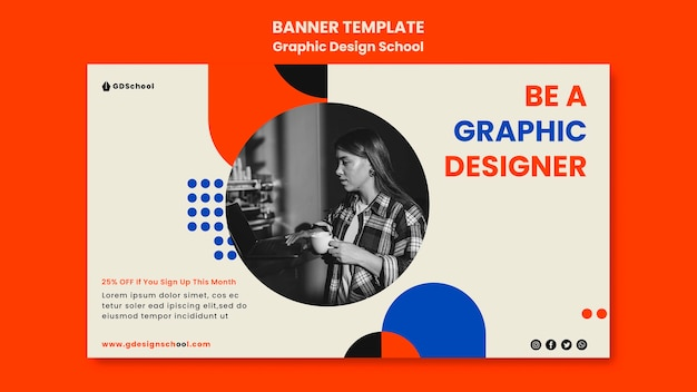 Modèle de bannière pour l'école de graphisme
