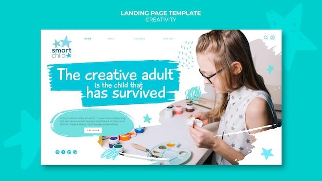 Modèle de bannière pour les enfants créatifs s'amusant