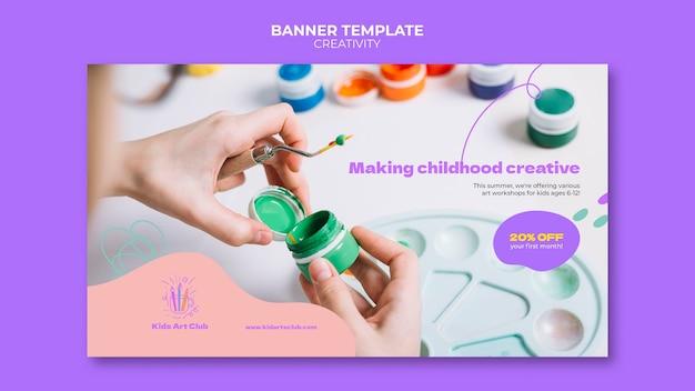 Modèle de bannière pour enfants créatifs