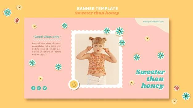 Modèle de bannière pour enfants avec des fleurs