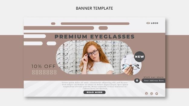 Modèle de bannière pour entreprise de lunettes