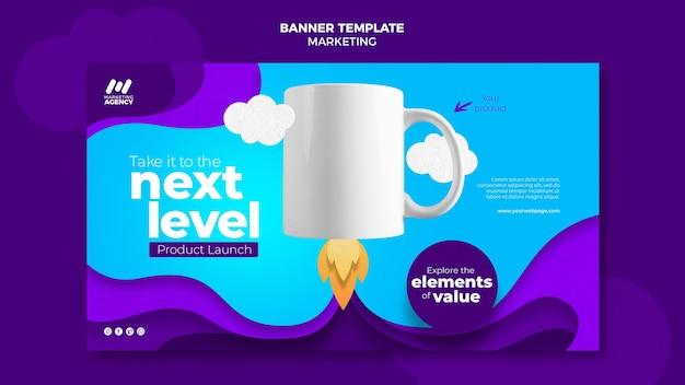 Modèle de bannière pour entreprise de marketing avec produit