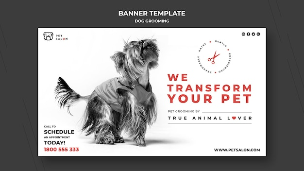 Modèle de bannière pour entreprise de toilettage pour animaux de compagnie