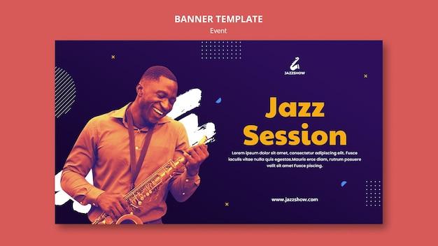 Modèle de bannière pour un événement de musique jazz