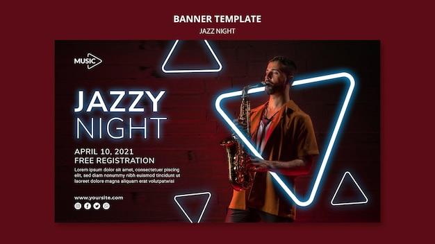 Modèle de bannière pour l'événement de nuit de jazz au néon