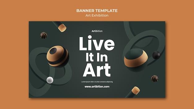 Modèle de bannière pour exposition d'art avec des formes géométriques