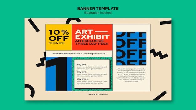 Modèle de bannière pour exposition d'art