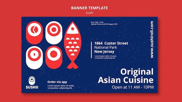 Modèle de bannière pour le festival de la cuisine japonaise avec des sushis