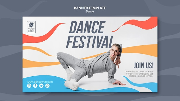 Modèle de bannière pour festival de danse avec interprète