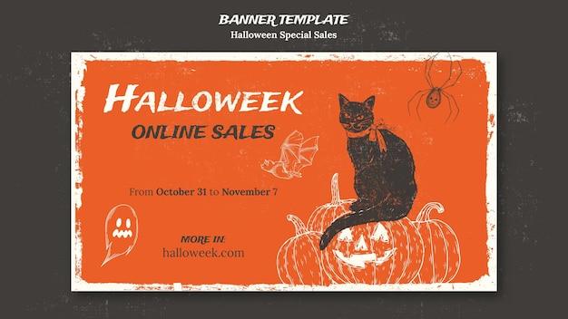 Modèle de bannière pour halloweek
