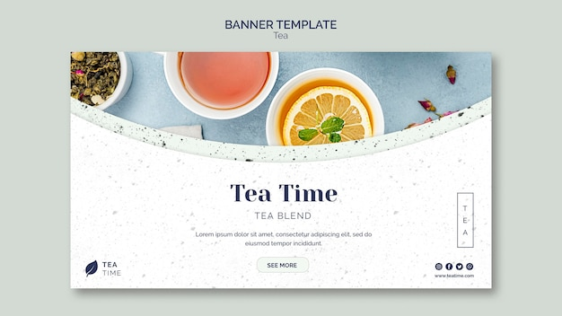Modèle de bannière pour l'heure du thé
