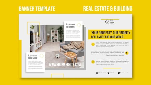 Modèle de bannière pour l'immobilier et la construction