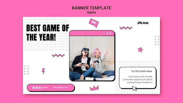 Modèle de bannière pour jouer à des jeux vidéo
