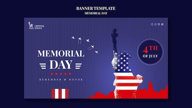 Modèle de bannière pour le jour commémoratif des états-unis