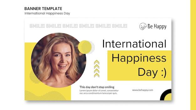 Modèle de bannière pour la journée internationale du bonheur