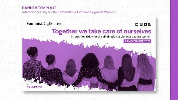 Modèle de bannière pour la journée internationale pour l'élimination de la violence à l'égard des femmes