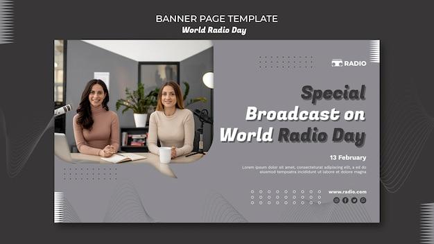 Modèle de bannière pour la journée mondiale de la radio avec un diffuseur féminin