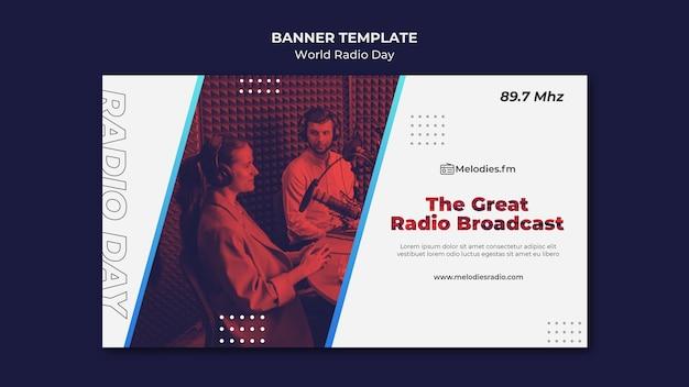Modèle de bannière pour la journée mondiale de la radio avec un diffuseur masculin