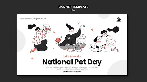 Modèle de bannière pour la journée nationale des animaux de compagnie avec propriétaire et animal de compagnie