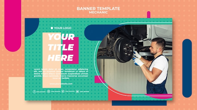 Modèle de bannière pour mécanicien professionnel