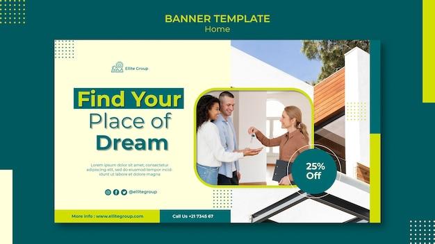 Modèle de bannière pour la nouvelle maison familiale