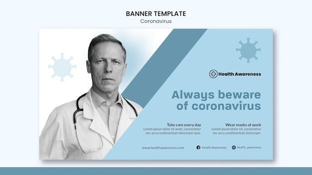 Modèle de bannière pour la pandémie de coronavirus