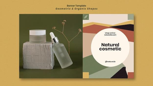 Modèle de bannière pour podium de bouteille d'huile essentielle avec des formes géométriques