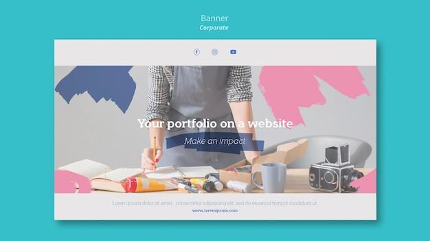 Modèle de bannière pour le portfolio de peinture sur le site web