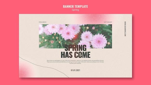 Modèle de bannière pour le printemps avec des fleurs