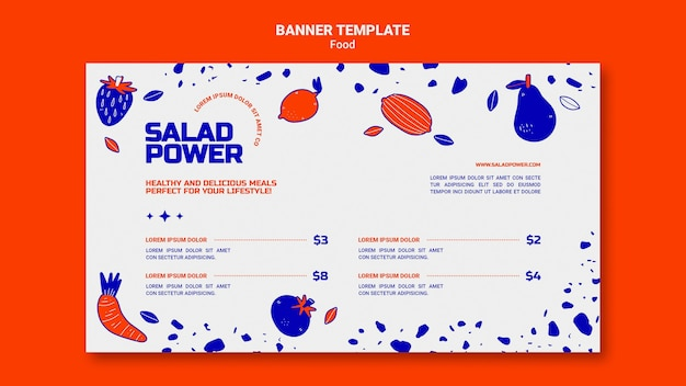 Modèle de bannière pour la puissance de la salade