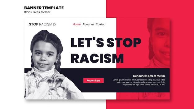 Modèle de bannière pour le racisme et la violence