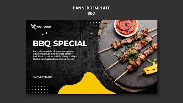 Modèle de bannière pour restaurant barbecue