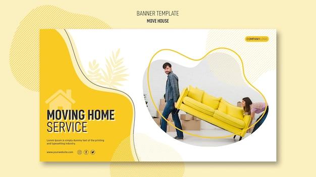 Modèle de bannière pour les services de relocalisation de maison