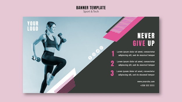 Modèle de bannière pour le sport et le fitness