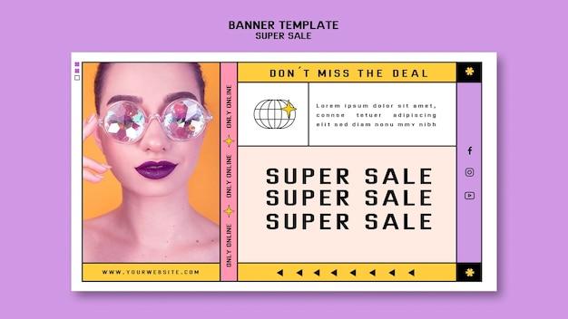 Modèle de bannière pour super vente de lunettes de soleil