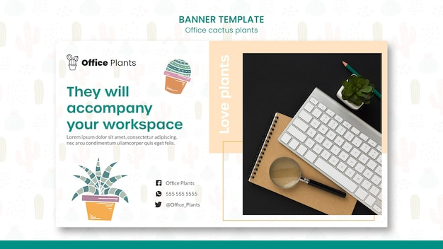 Modèle de bannière pour les usines d'espace de travail de bureau
