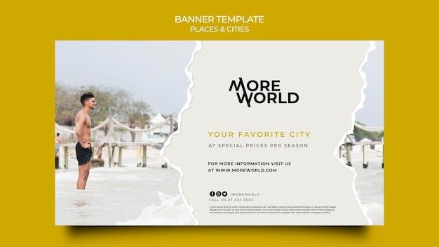 Modèle de bannière pour les villes et les lieux de voyage