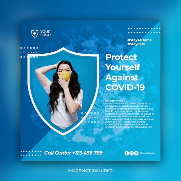 Modèle de bannière de prévention des coronavirus sur instagram