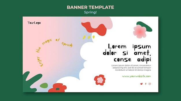 Modèle de bannière de printemps dessiné