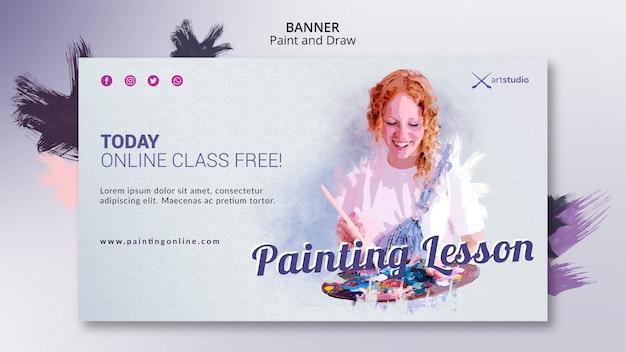 Modèle de bannière de professeur de cours en ligne de peinture