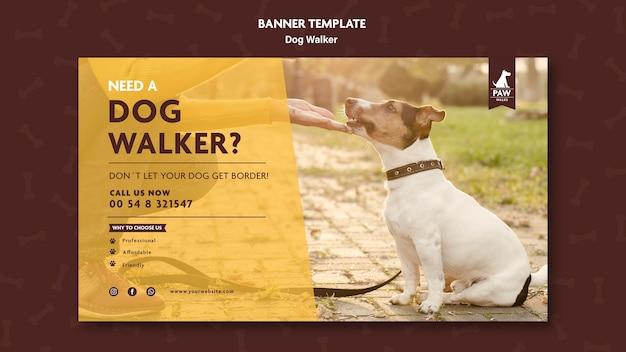Modèle de bannière de promeneur de chien