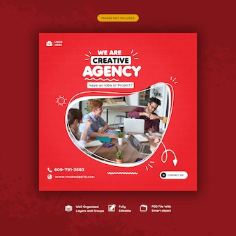 Modèle de bannière de promotion commerciale et de médias sociaux créatifs