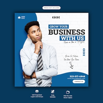 Modèle de bannière de promotion commerciale et de médias sociaux d'entreprise