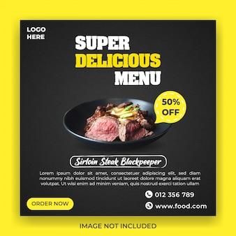 Modèle de bannière de promotion de menu super délicieux