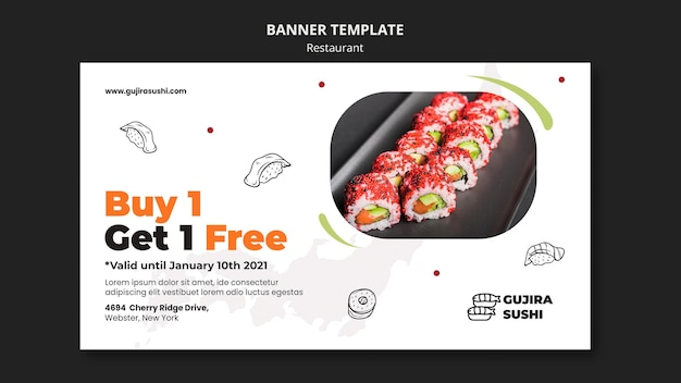 Modèle de bannière de promotion de restaurant de sushi