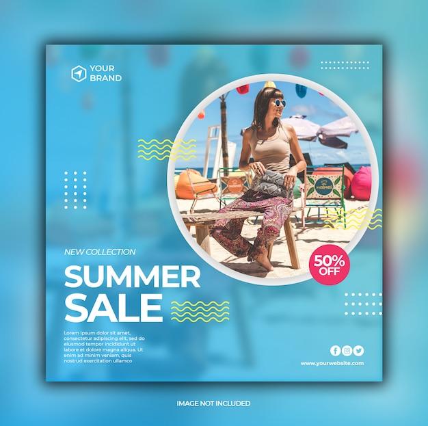Modèle de bannière de promotion de vente de mode d'été pour publication sur les médias sociaux