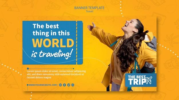 Modèle de bannière de promotion de voyage