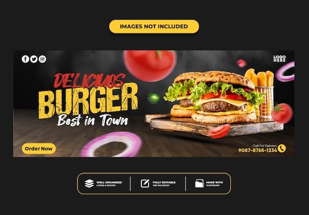 Modèle de bannière de publication de couverture facebook pour burger de menu de restauration rapide de restaurant