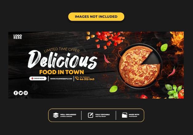 Modèle de bannière de publication de couverture facebook pour pizza de menu de restauration rapide
